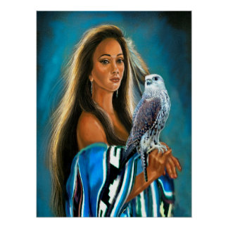 Poster Native American Maiden with Falcon