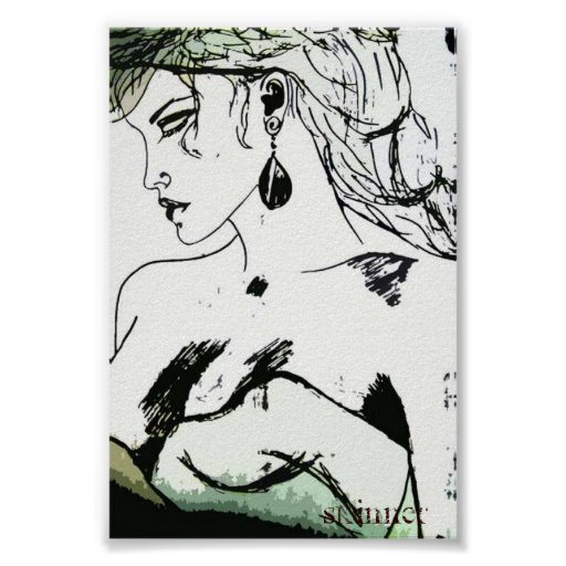 Poster of a woman, side profile