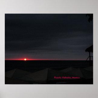poster of beach sunset in Puerto Vallarta, Mexico