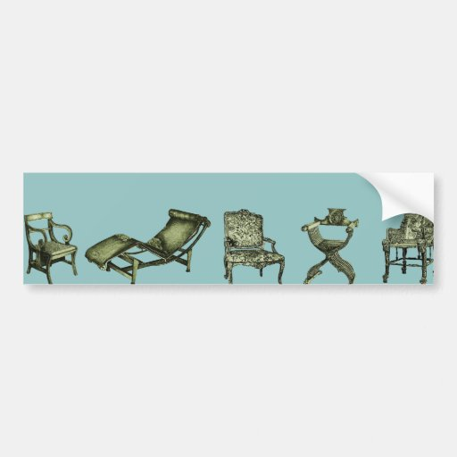 Poster of chairs in turquoise bumper sticker