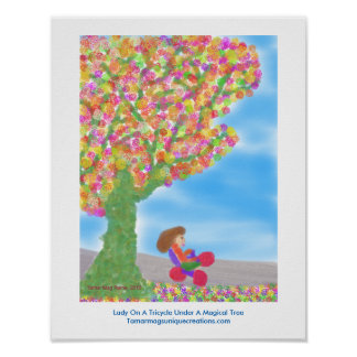 Poster of Lady on a Tricycle Under a Magical Tree