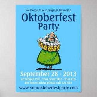 Poster Oktoberfest Party Beer Waitress Dirndl