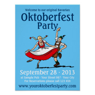 Poster Oktoberfest Party Dancing Couple