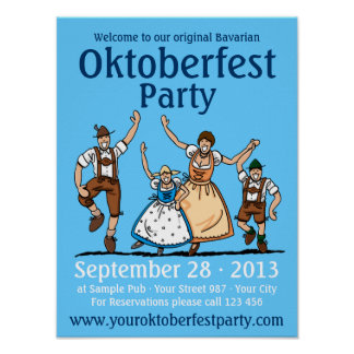 Poster Oktoberfest Party Dancing Family