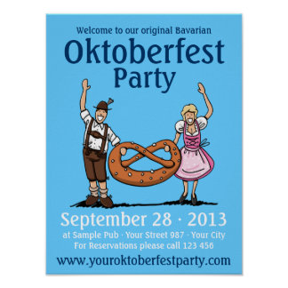 Poster Oktoberfest Party Happy Couple Pretzel