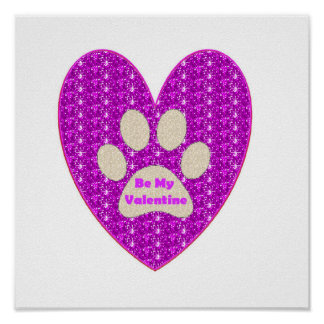 Poster Paw Heart Pink White Be My Valentine