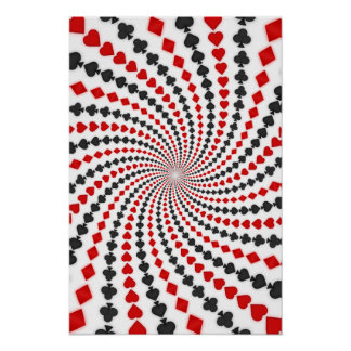 Poster Poker Card Suits Spiral Black Jack