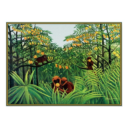 Poster/Print: Apes in the Orange Grove by Rousseau