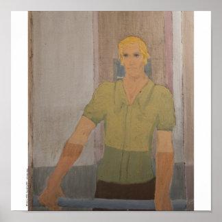 """Poster/Print: """"Blond Man Green Shirt"""" Poster"""