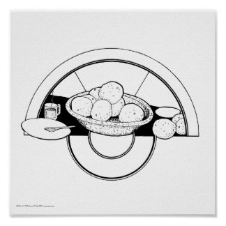 """Poster/Print: """"Dishes/Grapefruit"""" Poster"""