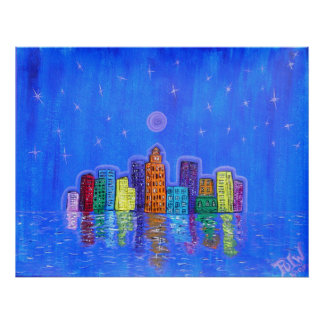 Poster Print -Starry City Night