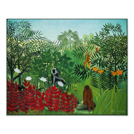 Poster/Print: Tropical Forest with Monkeys Poster
