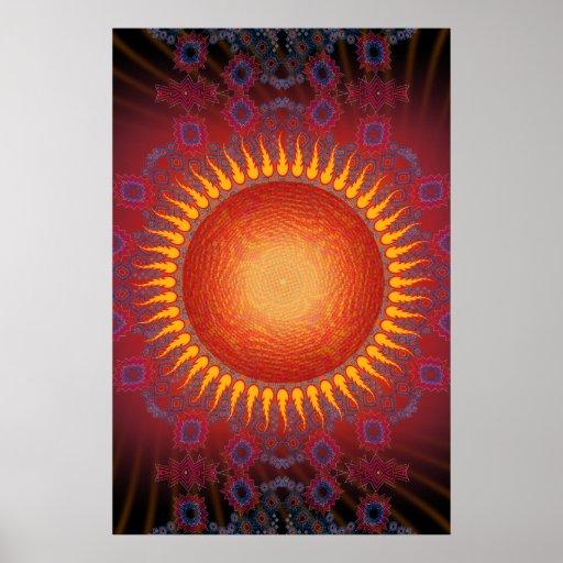 Poster: Psychedelic Sun: Spiral Fractal Design
