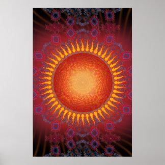 Poster: Psychedelic Sun: Spiral Fractal Design Poster