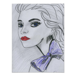 Poster Purple Bow Illustration