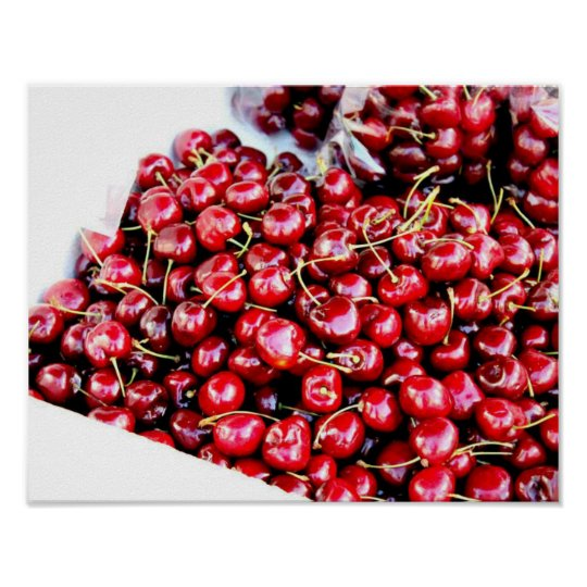 Poster red cherries photography california art
