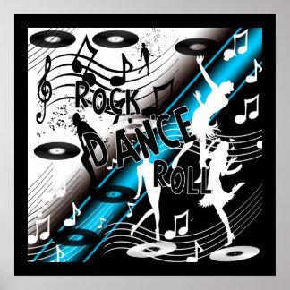 Poster Rock 'N' Roll Dance Music Blue