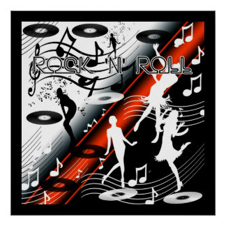 Poster Rock 'N' Roll Dance Music Red