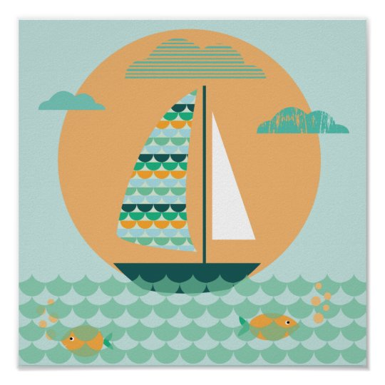 Poster, sailing boat, children's room, picture, poster