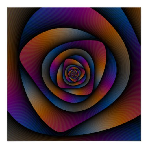 Poster  Spiral Labyrinth in Blue Orange and Pink