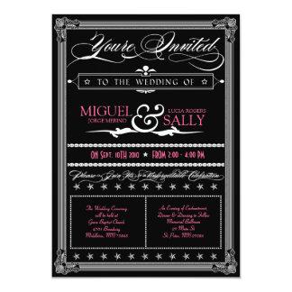 Poster Style Pink & Black DIY Wedding Invitation