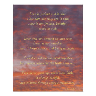 Poster--Sunset Clouds 1 Cor13:4-7