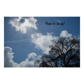 Poster: Tree against cloudy blue sky.