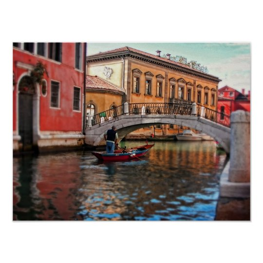 Poster-Venice Italy canal and gondola Poster