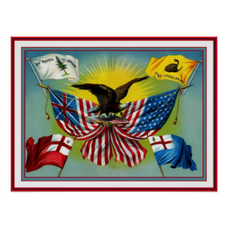 Poster Vintage 1885 History of US Flags