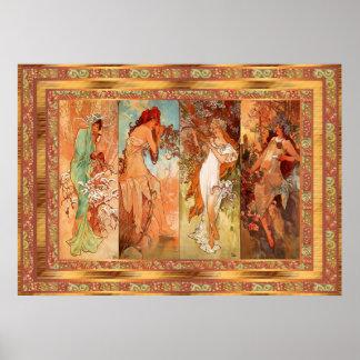 Poster Vintage Alphonse Mucha Panel Art Nouveau Posters