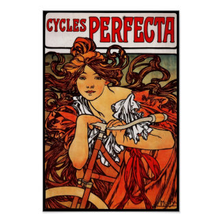 Poster Vintage Art Alfons Mucha 1902 Cycles