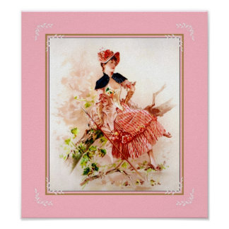 Poster Vintage Art Lady Sitting On Tree Pink Posters