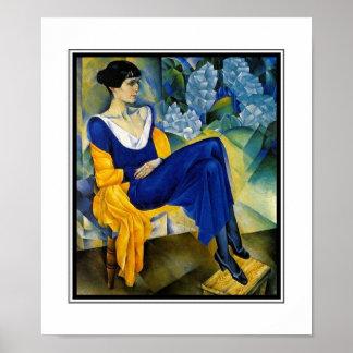 Poster Vintage Art Woman Blue Akhmatova_1914 Posters