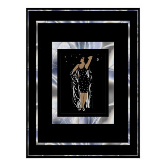 Poster Vintage Glamor Girl Black Silver Frame Poster