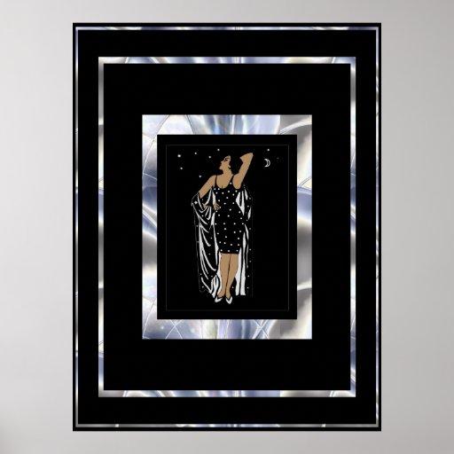 Poster Vintage Glamour Girl Black Silver Frame