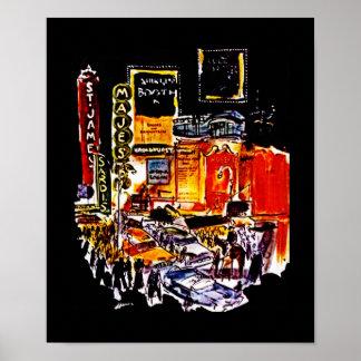 POSTER VINTAGE NEW YORK CITY THEATRE DISTRICT