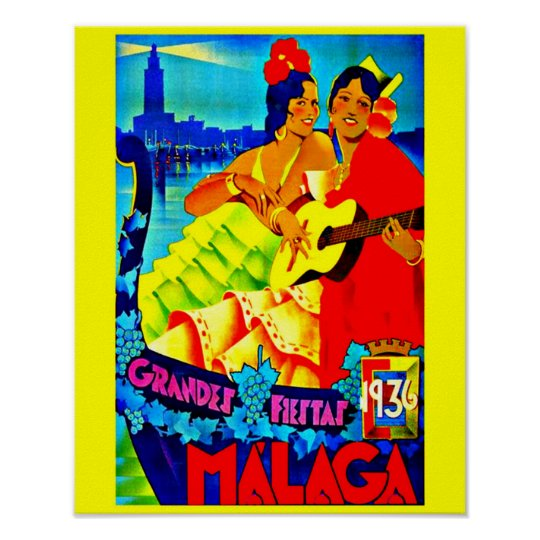 Poster-Vintage Travel Art-Malaga Poster