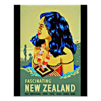 Poster-Vintage Travel Art-New Zealand