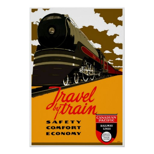 Poster Vintage Travel By Train Canada 2