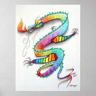 Poster w/ original art of cute technicolor dragon