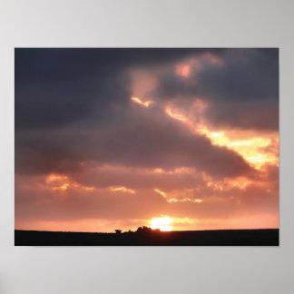 Poster Wide-Angle Sunset Chûn Quoit Carn Kenidjack