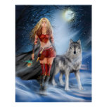 Poster Winter Warrior Princess and  wolf