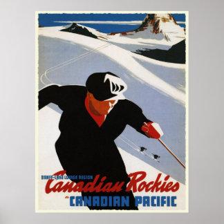 Poster with Canadian Rockies Ski Print