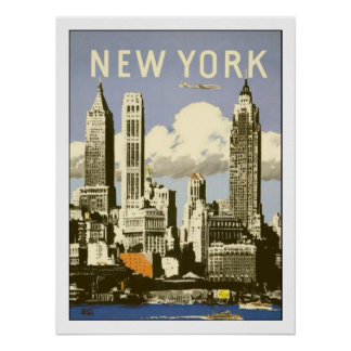 Poster with Cool Vintage New York Print