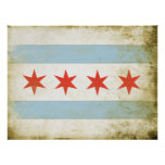 Poster with Distressed Chicago Flag Print