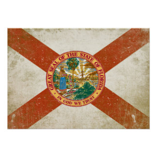 Poster with Distressed Flag from Florida