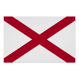 Poster with Flag of Alabama, U.S.A.