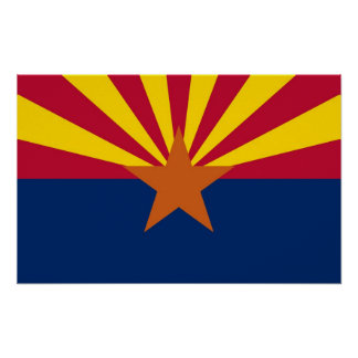 Poster with Flag of Arizona, U.S.A.