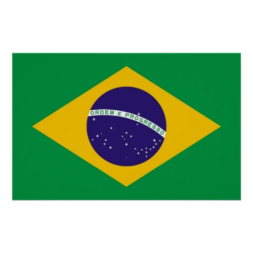 Poster with Flag of Brazil