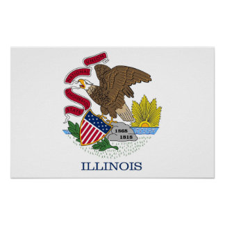 Poster with Flag of Illinois, U.S.A.